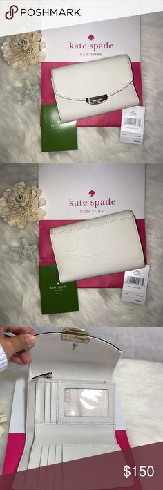 """AUTHENTIC KATE SPADE MULBERRY ST CALLIE WALLET This is a NEW with Tag Kate Spade Mulberry Street Callie Wallet in Hare Gray. Cement Pebbled Leather Front Flap with Magnetic Snap Closure Light Gold-Tone Hardware 7 Card Slots (1 ID slot) Full Size Bill Pocket 4 additional pockets  Zippered Coin Pocket with Leather Pull Back Exterior Slip Pocket Approx. 6"""" x 4"""" x 1.25"""" Includes: Original Kate Spade New York Tag and Care Card Guaranteed Authentic Purchased Directly from Kate Spade  *READY TO…"""