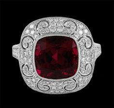 Beautiful! Platinum Diamond & Rubellite Ring - Yafa Jewelry