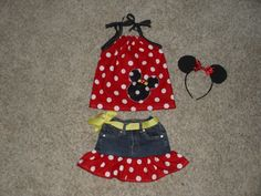 Minnie Mouse outfit with headband by EllieBellieButton on Etsy, $25.00