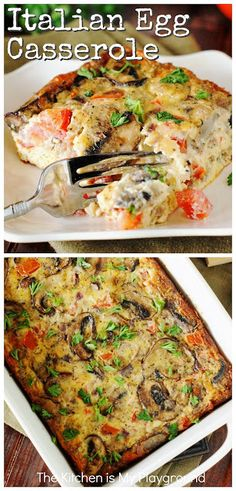Italian Egg Casserole ~ Loaded with cheese, portabella mushrooms, fresh tomatoes & sweet Italian sausage, this easy casserole delivers up tons of flavor in every bite! A low-fuss recipe that works for Egg Recipes For Dinner, Breakfast Sausage Recipes, Dinner Casserole Recipes, Italian Sausage Recipes, Veggie Casserole, Healthy Casserole Recipes, Sweet Italian Sausage, Dinner Dishes, Breakfast Casserole