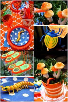 Looking for fun and creative birthday party inspiration ideas for boys? Here's a great roundup of awesome ideas for boys birthday party themes, 4th Birthday Parties, Birthday Fun, Birthday Ideas, Bug Party Food, Butterfly Party, Diy Party, Party Ideas, Childrens Party, Party Time