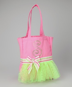 Take a look at this Pink & Lime Initial Tutu Bag by Personalized Style: Apparel & Accents on #zulily today!