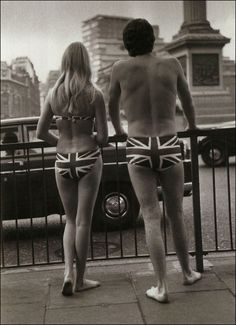Canvas Print (other products available) - Two models in Union Jack swimwear posing in Trafalgar Square to promote tourism to Gibraltar, October (Photo by Michael Webb/Getty Images) - Image supplied by Fine Art Storehouse - Canvas Print made in Australia Union Jack, Trafalgar Square, Play Soccer, Tumblr, Photographic Prints, Retro, White Photography, Vintage Photography, Street Photography