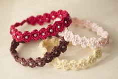 Crocheted Adjustable Beaded Headband by Hand Knit by Cara. Note: These are sized for babies newborn to 12 months.