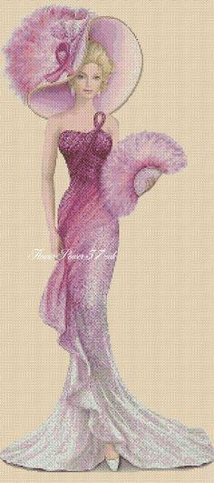 Cross stitch chart Elegant Lady 156T full length Flowerpower37-uk | eBay