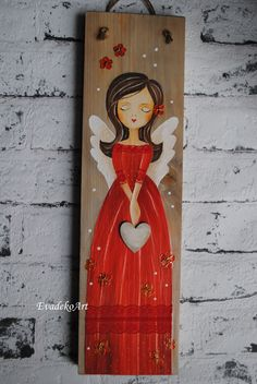 Fall Canvas Painting, Summer Painting, Tole Painting, Painting For Kids, Painting On Wood, D N Angel, Angel Art, Spiritual Paintings, Angel Crafts