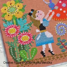 GERA! by Kyoko Maruoka - Alice meets the caterpillar zoom 2 (cross stitch chart)
