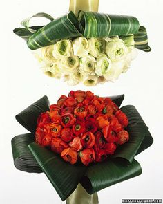 """love how the aspidistra leaves serve as a """"ribbon"""" looking base for the bouquet"""