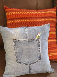 Looking great on a couch or in a teen's bedroom, I love my upcycled jeans throw pillow!