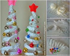 How to DIY Crochet Christmas Tree with Ornaments | www.FabArtDIY.com