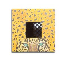 Oil painting Leopard  on mirroryellow brown by OilpaintingsChrista, $60.00