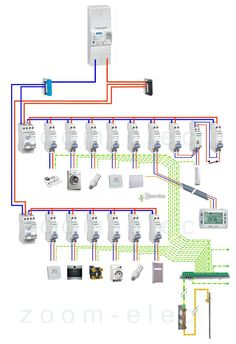 Electrical panel diagram, connection wiring - Miriam Andrews Photo Page Electrical Engineering Books, Basic Electrical Wiring, Electrical Circuit Diagram, Electrical Plan, Electrical Projects, Electrical Installation, Electronic Engineering, Electronics Projects, Solar Panel System