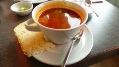Goulash Soup (a hungarian beef stew) at the café overlooking Pest at  fisherman's Bastion, Budapest, Hungary.