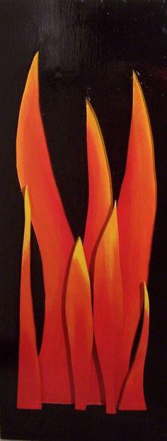 FIAMMA SCOMPOSTA - 40 x 100 cm, legno, acrilico (wood, acrylic), 2009