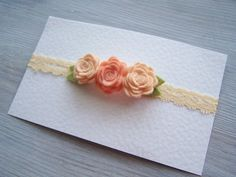 Baby Lace Headband  Peach Rose Headband  Wool by IskraAccessories, $6.50