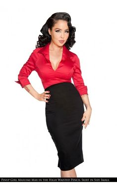 Laura Byrnes California- High Waisted Seamed Pencil Skirt in Black | Pinup Girl Clothing