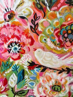 Original Bohemian Flower Painting Bird 24 x от karenfieldsgallery