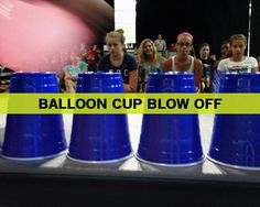 balloon dance games | Balloon Cup Blow Off - Use air in the balloons to blow cups off table