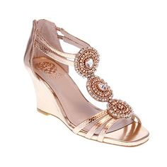 Vince Camuto Leather Jeweled T-Strap Sandal