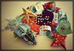 Origami de Noël à partir d'ouvrages (voir articles sur danslachambredemesenfants.fr)