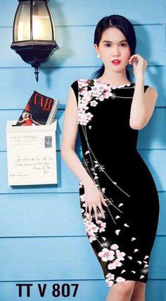 Đầm ôm body in hoa đào 3D-MD1341 Giá: 320.000đ