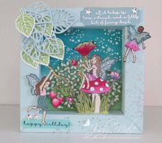 I cased this shadow box card from Juana Ambida on Pinterest.   Stampin Up, Fairy Celebration, Thoughtful Branches Bundle