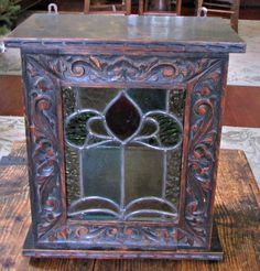 Victorian Oak Spice Cabinet Tea Safe Box Carved Oak Stained Glass Leaded Glass Storage Chest Wooden Box English