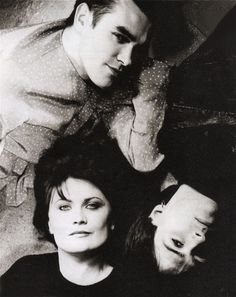 Sandie Shaw with Morrissey and Johnny Marr of The Smiths ― photo by Peter Ashworth (1984).