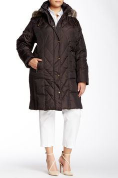 Faux Fur Trimmed Hooded Down Blend Jacket (Plus Size)