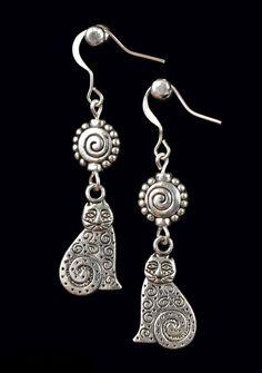 Tibetan Silver Cat Charm Earrings, Dangle Earrings, Pretty Earrings, Gift for Her