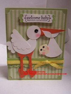 stork and baby punch art - bjl