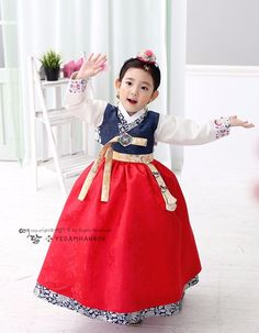 59ae90b66 Navy Red Girl Hanbok Dress Korean traditional Korea Baby 1st birthday Party