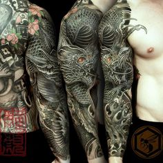 """""""Full sleeve tattoo is completed with a black dragon, representing his strength…"""