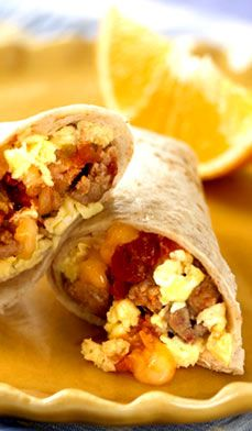 Freezer Breakfast Burrito: Reducing the fat is easy, choose egg whites or egg substitutes, make the cheese fat free and use vegetable sausage instead of the turkey version. #healthy #recipes