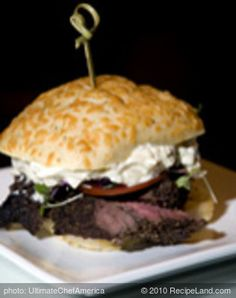 Peppercorn Beef Tenderloin with Gorgonzola and Chive Mousse.  This does look good.