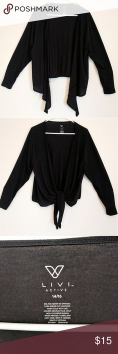 Lane Bryant Livi Active black tie front top Lane Bryant Livi Active black tie front top.  Wear tied or untied.  Smooth, thin but opaque material.  Could dress up or down, though active brand.  NWOT.  Smoke free, pet free home.  ***Make me an offer!*** Lane Bryant Tops