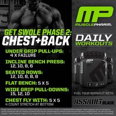 Workout of the Day! Get Swole Phase 2 Chest and Back by Tag a friend who wants a big chest on Friday! Chest Workouts, Fit Board Workouts, Gym Workouts, Workout Routines, Daily Workouts, Week Workout, Workout Plans, Workout Ideas, Chest And Back Workout