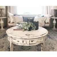 Easy Deconstructed Chair Tutorial Hallstrom Home Hallstrom Home Shabby Chic Living Room Furniture Shabby Chic Decor Living Room Shabby Chic Coffee Table Round distressed coffee table