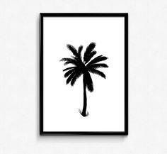 Palm Tree Print, Tropical Art, Beach Wall art, Tropical print, Black and White Art, Printable Digital Pint, Instant Download by HamptyDamptyArt on Etsy