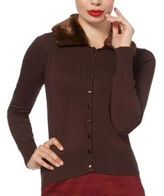 Another great find on #zulily! Brown Faux Fur-Collar Pippa Cardigan #zulilyfinds