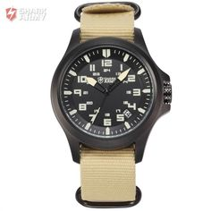 AVENGER Black Dial Shark Army Date Display Brown Nylon Fabric Waterproof US Navy Montre Homme Military Men Quartz Watch / SAW088