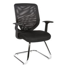 Mesh Office Chair With Black Arms And Single Lever Mechanism.