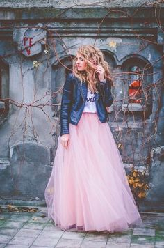 style leather jacket in winter over a tulle skirt