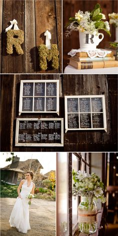 vintage barn wedding, books, lace, antique frames. beautiful.