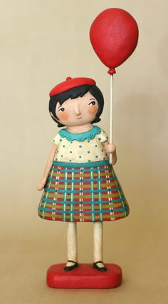 Girl with a Balloon- papier maché