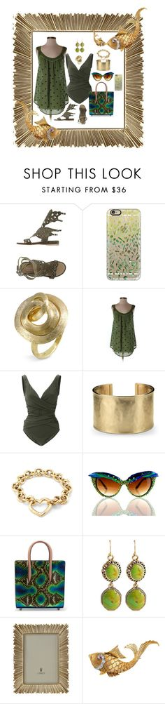 """FISHY, FISHY IN THE BROOK...."" by hrhjustcuz ❤ liked on Polyvore featuring Passion Blanche, Casetify, Marco Bicego, Anthropologie, Karla Colletto, Blue Nile, Tiffany & Co., MATERIAL MEMORIE, Christian Louboutin and Barse"
