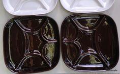 #Estriceram Fondue Plate x 2 Brown Glaze 9 1/4 inches square Canada Art Pottery Grill Seafood Jacques Garnier 1970s
