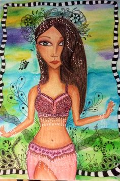 #liveyourpassion #bellydance #abissag #mixedmediagirls #art #frompanamawithlove #whimsicalgirls #zentangle #panama