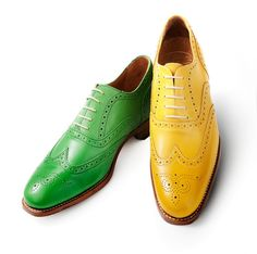 Brogues — durable, comfortable, low-heeled shoes, often having decorative perforations and wing tips.