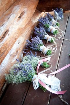 Wedding Bouquets at River Dance Lodge in Syringa #LogCabins #GlampingWedding #CountryWeddings #LavendarBouquets http://www.riverdancelodge.com/weddings